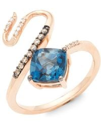 Le Vian - 14k Strawberry Gold, Blue Topaz, Chocolate Diamond & Vanilla Diamond Ring - Lyst