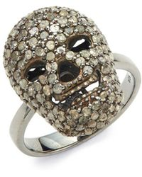Bavna - Champagne Pavé Diamond And Sterling Silver Skull Cocktail Ring - Lyst