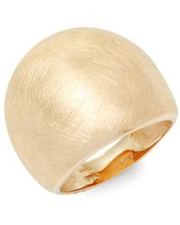 Saks Fifth Avenue - Wide Textured 14k Gold Band Ring - Lyst