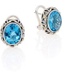 Effy - Blue Topaz, Sterling Silver & 18k Yellow Gold Earrings - Lyst