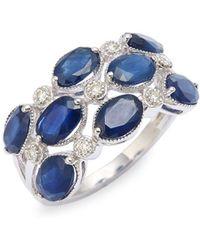 Effy - 14k White Gold, Sapphire & Diamond Ring - Lyst
