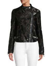 Giambattista Valli Lace Inset Moto Jacket - Black