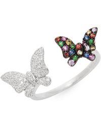 Effy - 14k White Gold Diamond & Multi-tone Sapphire Butterfly Cuff Ring - Lyst