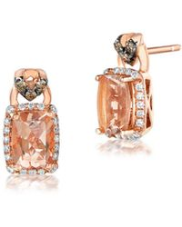 Le Vian - Chocolatier Diamond, Morganite & 14k Rose Gold Square Stud Earrings - Lyst