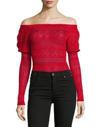 Ronny Kobo - Embroidered Off-the-shoulder Bodysuit - Lyst