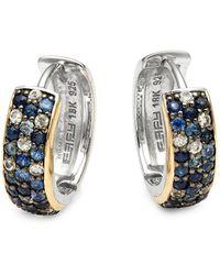 Effy - Sterling Silver, 18k Yellow Gold & Sapphire Huggie Earrings - Lyst