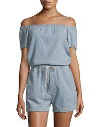 Mother - Off-the-shoulder Cotton Romper - Lyst