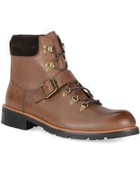 Andrew Marc - Midiwood Leather Lace-up Buckle Boots - Lyst