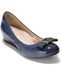 Cole Haan - Emory Bow Leather Wedge Pumps - Lyst
