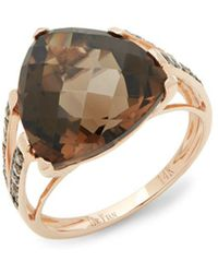 Le Vian - 14k Strawberry Gold Chocolate Diamonds And Chocolate Quartz Chocolatier Ring - Lyst