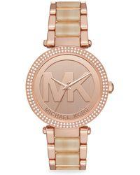 Michael Kors - Parker Rose-gold Stainless Steel Bracelet Watch - Lyst