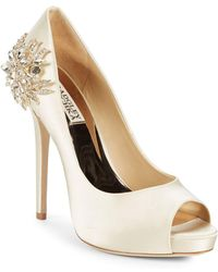 Badgley Mischka - Marcia Embellished Peep Toe Court Shoes - Lyst