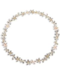 Roberto Coin - 9.75 Tcw Diamond & 18k White Gold Floral Necklace - Lyst
