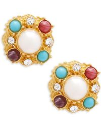 Ben-Amun - Crystal And Faux Pearl Clip-on Earrings - Lyst