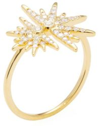 Artisan - Double Star 14k Yellow Gold & Diamond Ring - Lyst