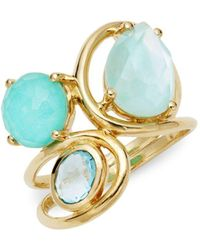Ippolita - Rock Candy 18k Gold, Blue Topaz, Clear Quartz & Mother-of-pearl Ring - Lyst