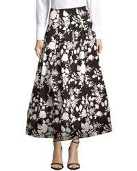 Oscar de la Renta | Floral-print Tea Skirt | Lyst