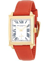 Bruno Magli - Goldtone Stainless Steel And Leather Strap Watch - Lyst