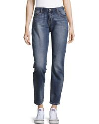 Jean Shop - Whiskered Cropped Jeans - Lyst