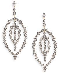 Freida Rothman - Gala Crystal Leaf Drop Earrings - Lyst