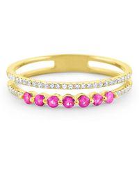 KC Designs - Pink Sapphire & Diamond Yellow Gold Ring - Lyst