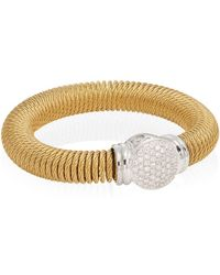 Alor | Diamond, 18k Yellow Gold & Stainless Steel Coil Bracelet | Lyst