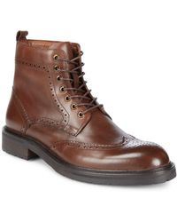 Saks Fifth Avenue - Arrezzo Wingtip Leather Ankle Boots - Lyst