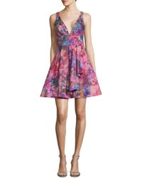 Marchesa notte - Flared Flower Dress - Lyst