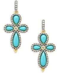 Freida Rothman - Pavé Crystal & Turquoise Clover Drop Earrings - Lyst