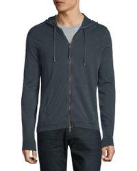 John Varvatos - Cotton Hooded Zip Jacket - Lyst