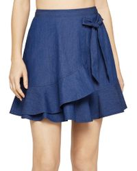 BCBGeneration - Denim Tie-front Mini Skirt - Lyst