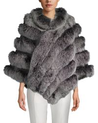 Belle Fare - Dyed Fox Fur Asymmetric Poncho - Lyst