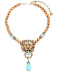 Heidi Daus - Beaded Crystal Lion Pendant Necklace - Lyst