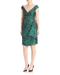 Kay Unger - Draped Brocade Dress - Lyst