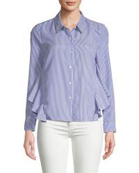 English Factory - Striped Ruffle Shirt - Lyst