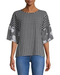 Spense - Chequered Roundneck Blouse - Lyst