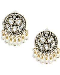 Heidi Daus - Faux Pearl And Crystal Drop Button Earrings - Lyst