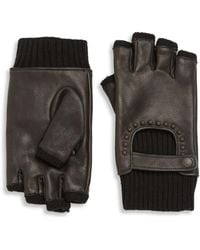 John Varvatos - Ribbed Leather Fingerless Gloves - Lyst