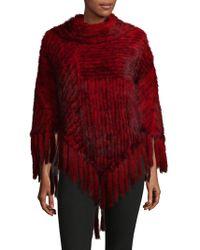Belle Fare - Knitted Mink Fur Fringe Poncho - Lyst