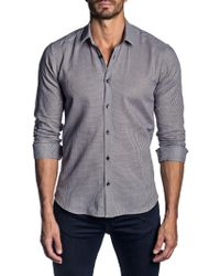 Jared Lang - Trim-fit Micro Check Cotton Sport Shirt - Lyst