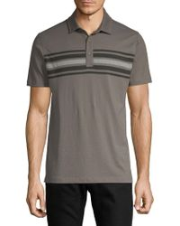 Saks Fifth Avenue - Striped Front Cotton Polo - Lyst