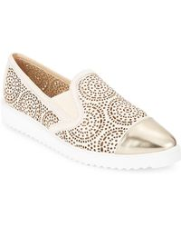 Karl Lagerfeld - Cora Cutout Metallic Leather Slip-on Sneakers - Lyst