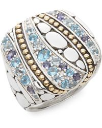John Hardy - Kali Aquamarine, Iolite, Swiss Blue Topaz, Sterling Silver & 18k Yellow Gold Lavafire Ring - Lyst
