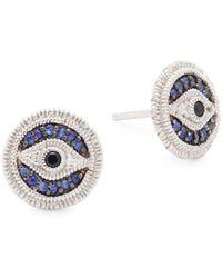 Judith Ripka - Sapphire & Sterling Silver Stud Earrings - Lyst