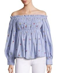 SUNO - Smocked Cotton Off-the-shoulder Top - Lyst