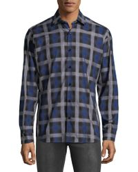 Jared Lang - Chequered Cotton Button-down Shirt - Lyst