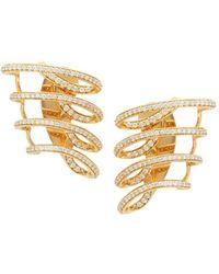 Hueb - Diamond 18k Yellow Gold Wave Cuff Earrings - Lyst