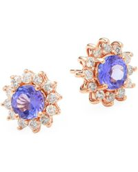 Effy - Diamond, Tanzanite & 14k Rose Gold Flower Stud Earrings - Lyst