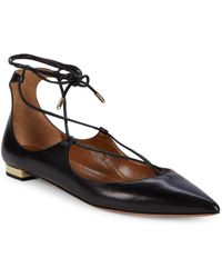 Aquazzura - Christie Criss-cross Leather Ankle Tie Flats - Lyst