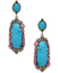 Bavna - Turquoise, Diamond & Sterling Silver Drop Earrings - Lyst